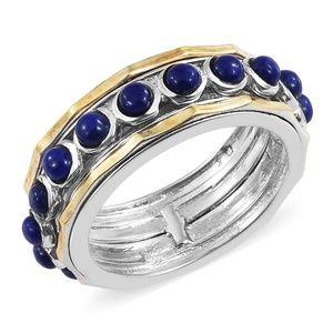 Lapis Lazuli ION Plated 18K YG/Brass spinner ring